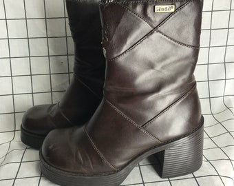 Vintage 'Mudd' Patchwork Brown Leather Chunky Heel Platform Boots