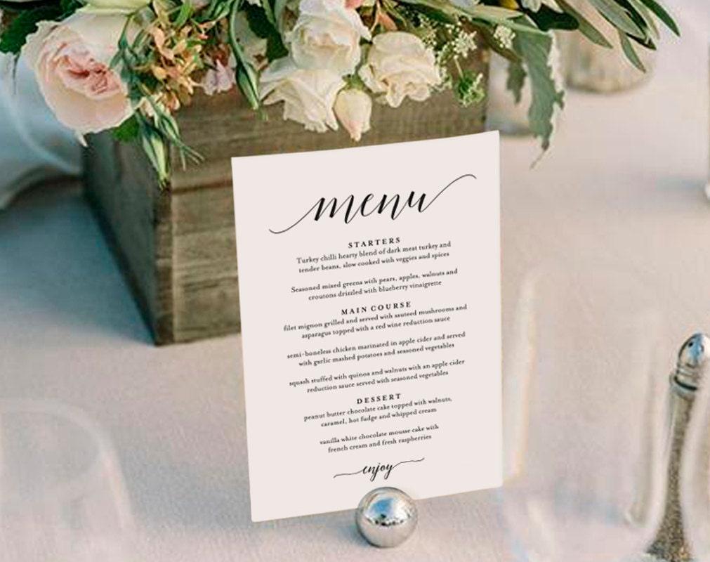 Wedding menu template wedding menu printable wedding menu for Table 9 menu