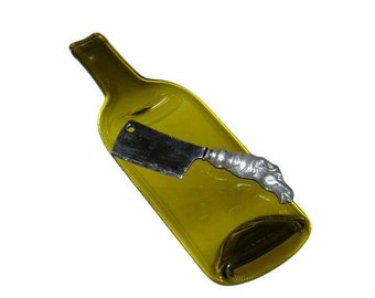 Flat Wine Bottle, Cheese Tray, melted wine bottle, Green, spoon rest,  Recycled wine bottle,  hostess gift, Recycled, Eco Friendly