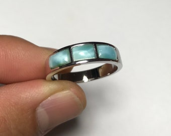 Genuine AAA Dominican Larimar 925 Sterling Silver Men's, woman Band Ring sizes 6,7,8,9,10,11,12. Wedding ring