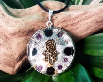 PROTECTION Orgone Pendant – Fluorite, Amethyst and Onyx – Protection, Grounding, Aura Balancing - Large
