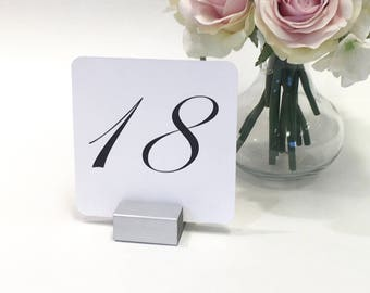 Table Numbers with Silver stands - Wedding Table Numbers - White Linen Table Number Cards ( 4 x 4 ) Set of 10
