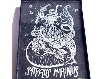 Satyrus Marinus Black canvas white paint framed art original art 4x6 capricorn zodiac mermaid