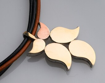 5 Gold Leaves Pendant, 3 String Leather Choker in Black and Natural with GF Tubes,Statement, Bridal, Wedding,