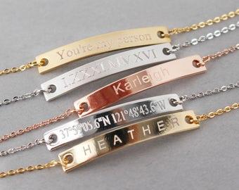 Custom Bar Bracelet, Bridesmaid Gifts, Personalized Bar Bracelet, Roman Numeral Bracelet, Wedding Date Bracelet, Mother's Day Gift, For Her