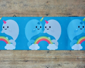 "3"" Narwhal & Rainbow Ribbon"