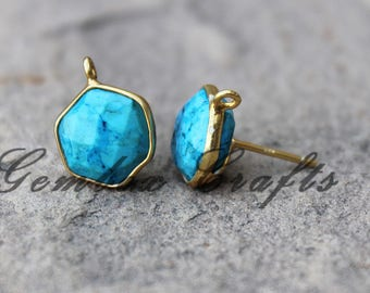 Imitation Turquoise 10mm Hexagon Briolette 925 Sterling Silver Gold Plated Smooth Finish Studs Earring