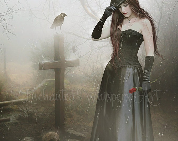 Gothic woman at grave art print