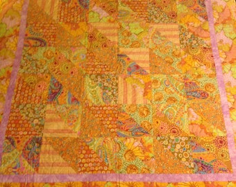 Pink and Yellow Print Large Throw Quilt