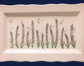 Rectangle Plate with Flowers
