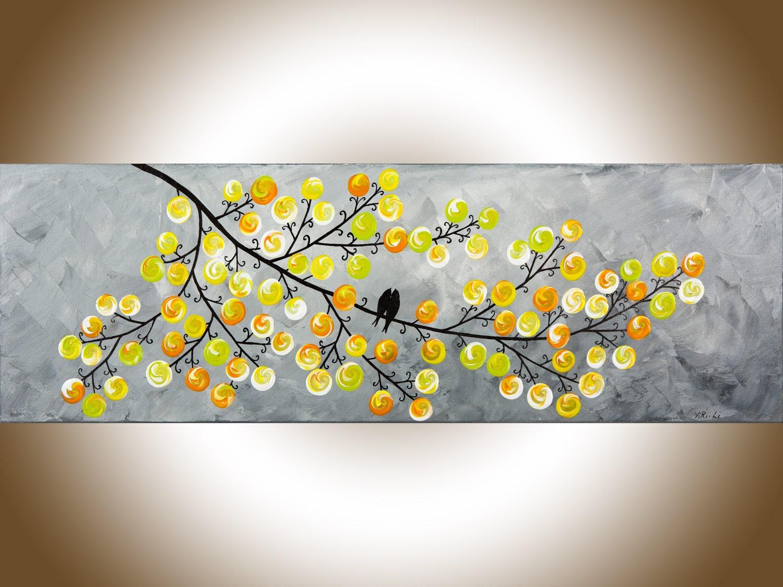 Yellow grey painting canvas art love birds art narrow art home