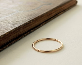 14k gold ring, thin wedding band, Stacker, yellow gold, minimal jewelry