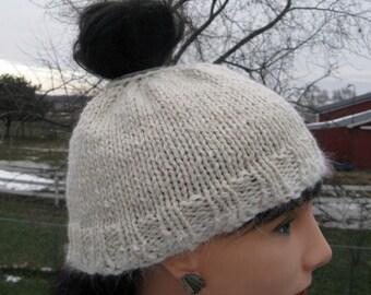 Messy bun hat, Alpaca and wool winter beanie, Pony tail beanie, White hat