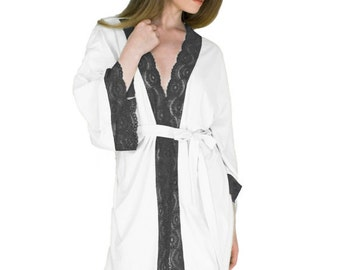 Anniversary Gift Robe Black and White Robe For Her Sexy Short Robe Organic Bamboo Lingerie Sexy Gifts for Wife