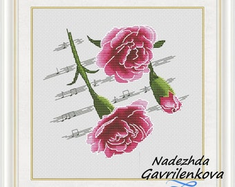 Flower Sonata Stitch Pattern Flowers Modern cross stitch pattern PDF Embroidery room wall decor