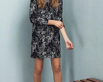 Black & white fitted dress - Winter dress - Formal dress - Long sleeve dress women - Black dress - Knit dress - Elegant dress - Lacy dress