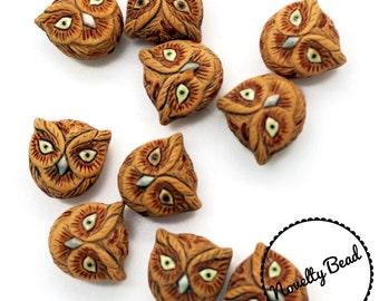 10 - Small - Brown Owl Head Beads - Bird Beads - Animal Beads - Novelty Beads - Ceramic