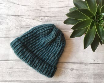 Knit teal hat chunky yarn dad hat merino wool yarn baby shower gift knit beanie knit hat expecting mom gift coming home outfit knitted