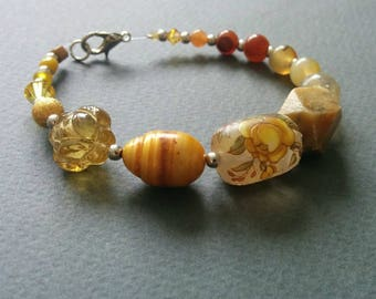 Yellow rose. Mixed gemstone, acrylic and Czech glass beads unique bracelet. Free shipping.