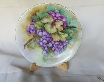 Hand Painted Grapes Vines Decorative Plate Rare