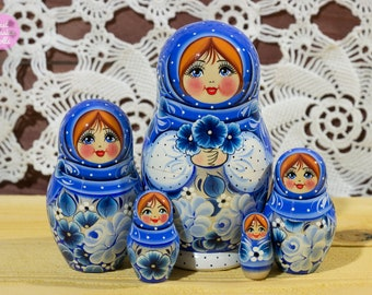 Handmade nesting doll, Cute gift for girlfriend, Russian babushka, Gift for woman, Wooden hand painted matryoshka in blue and white dress