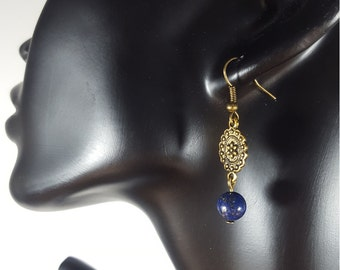 Lapis Lazuli earrings, Dangle earrings, Drop earrings, Lapis earrings, Everyday earrings, Crystal earrings, Boho earrings, Gift for women