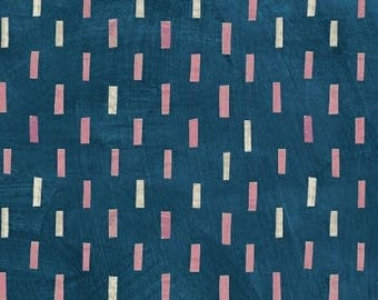 Dreamer by Carrie Bloomston for Windham Fabrics - Full or Half Yard Modern Pink and Natural Dashes on Blue