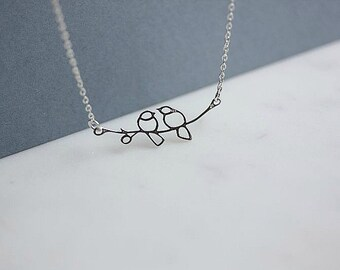 Silver Love bird Necklace - Sterling Silver Love Bird Necklace - Love Bird Necklace - Couple Necklace - Birds on a branch necklace
