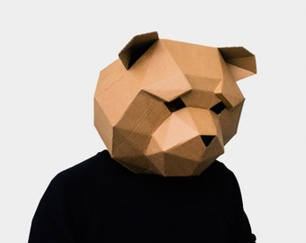 Teddy Bear Mask, DIY printable Animal Head, Instant Pdf download,  3D Polygon Masks, Printable Mask, Bear Costume