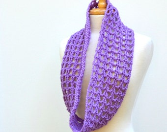 Crochet Lace Scarf, Lavender Infinity Scarf, Wool Purple Cowl