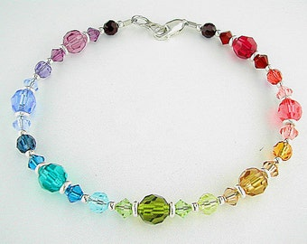 Swarovski Crystal Anklet in Rainbow Colors - 9 inch, 10 inch, 11 inch, 12 inch, 13 inch, or 14 inch Rainbow Ankle Bracelet - Sm - Plus Size