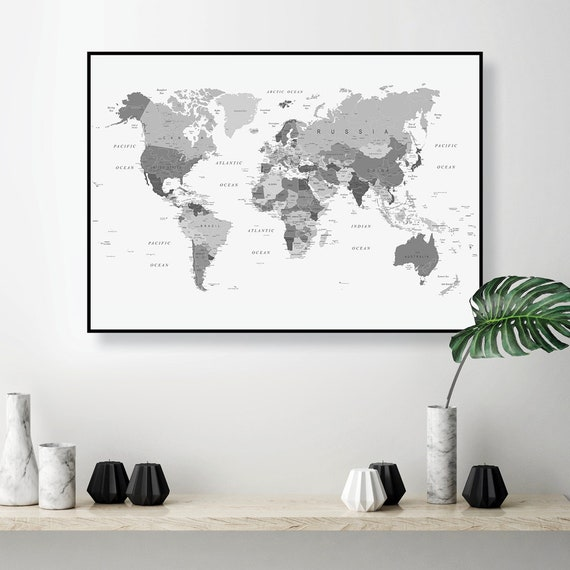 Downloadable black white grey world map large printable world gumiabroncs Images
