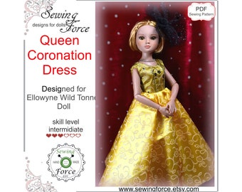 Designed for Ellowyne Wilde Tonner doll clothes dress pattern, PDF Sewing Pattern, Queen Coronation Dress, 16 inch fashion doll