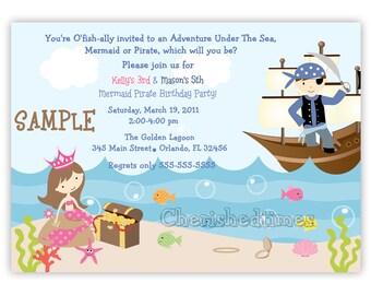 Mermaid and Pirate on boat birthday Invitation (DIGITAL FILE)