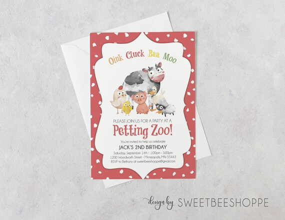 Petting Zoo Birthday Invitation Petting Zoo Invite Kids