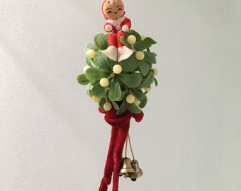Vintage Christmas Elf Mistletoe Ball