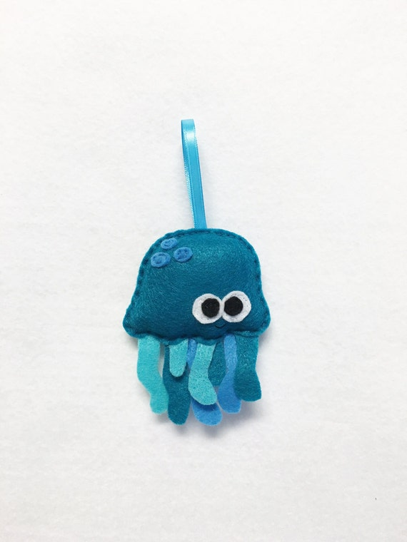 Ornament, Jelly Fish Ornament, Christmas Ornament, Burt the Teal Jellyfish, Ocean Animal, Felt Animal