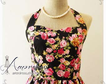 Floral Tea Dress Rose Dress Vintage Inspired Dress Party Tea Dress Summer Party Dress Once Upon a Time -Size S-
