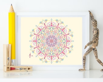 Mandala, Wall Art, Canvas Panel, Art Print, Tapestry, Painting, Stretched Canvas, Home Decor, Free Shipping, Unique, Gift, Equilibrium, Art