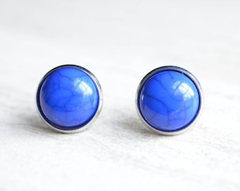 Belle - Cobalt Turquoise Lucite Bridesmaid Stud Earrings