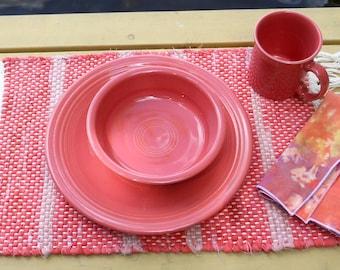 Handwoven Flamingo Rag Placemat & Handmade Matching Napkin, Set of 1