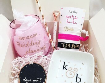 BASE BOX ONLY for bride box! Fill up this a-la-carte box with goodies on our page! great, personalized gift for an engaged bride to be!