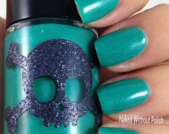 RINGS OF SATURN-Galactic Line by necessary Evil Polish, Turquoise with Blue shimmer and scattered holo