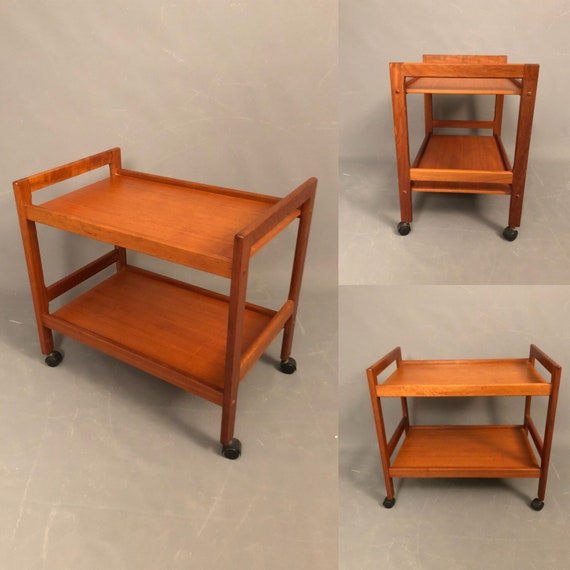 Beautiful Mid-Century teak cart on wheels. Very good condition 1960's Circa.