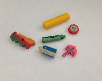 Vintage Eraser Lot 1980s 80s