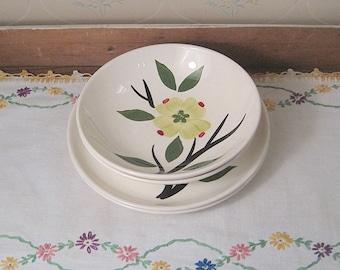 Two Hand Painted Dogwood Dessert Bowls & Saucers by Joni China