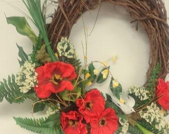 Summer wreath, summer door wreath, summer floral wreath, poppy wreath, summer colors wreath, grapevine summer wreath,seasonal summer wreath