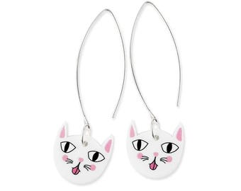 Cute Cats Earrings - White Pink Dangle Drop Long Mocking Kittens Kawaii Funny Colorful Pastels Pastel Perspex Acrylic  Kitschy Kitsch