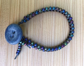 Beaded Bracelet Friendship Button Closure, Friendship Bracelet, Beaded Bracelet, Seed Bead, Button, Gift For Her