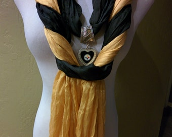 The Ultimate Pittsburgh Steelers Licensed  Jewelry Scarf (Infinity / FringeCombo)
